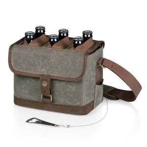 Picnic Time Beer Caddy Cooler Tote in Canvas Green